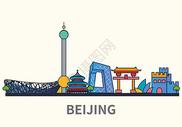 扁平化城市北京标志性建筑物图片