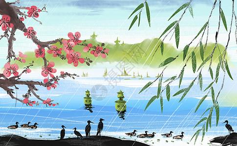春雨插画图片