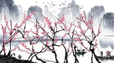 梅花山水插画图片