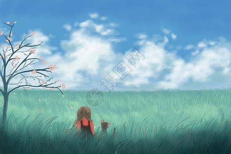草原少女的守候图片