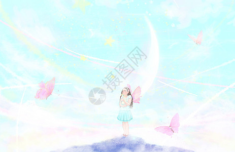 蝴蝶少女图片