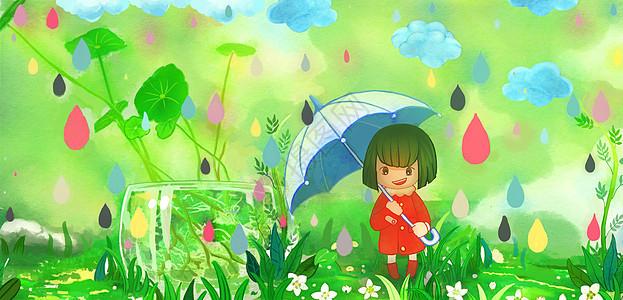 彩虹雨小女孩图片