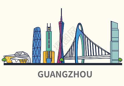 扁平化城市广州标志性建筑物高清图片