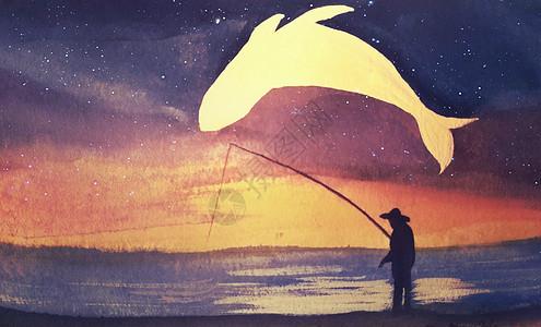 钓鱼的人与鲸鱼治愈系插画图片