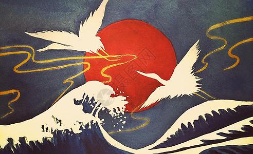浮世绘仙鹤系列插画高清图片