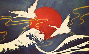 浮世绘仙鹤系列插画图片