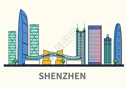 扁平化城市深圳标志性建筑物高清图片