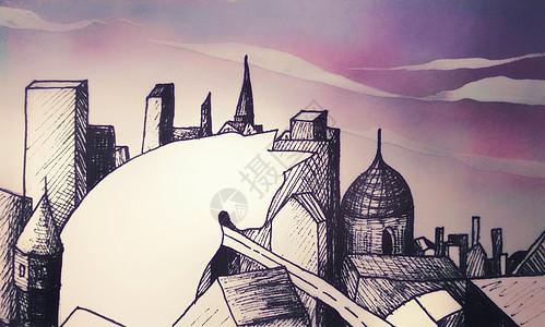 大猫与城市治愈系插画图片
