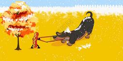狗狗与热狗图片