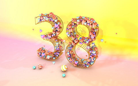 38妇女节创意桃心立体背景图片