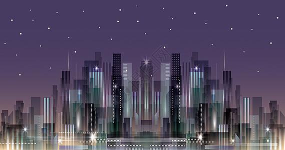 城市夜景剪影插画图片