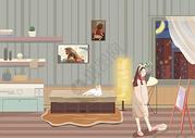 少女与猫图片