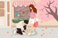 系鞋带的情侣图片