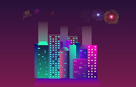 新年烟花的夜晚图片