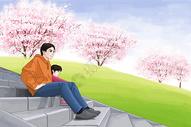 父女公园游玩赏樱花图片