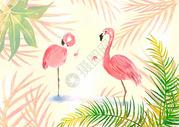 情侣火烈鸟植物水彩插画图片