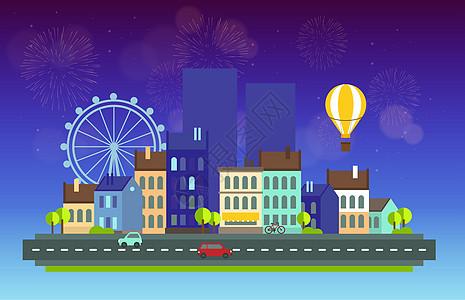 烟花夜景城市图片