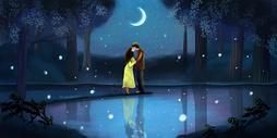 夜空下的情侣图片