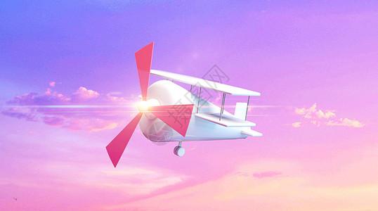 卡通飞机绚丽背景图片