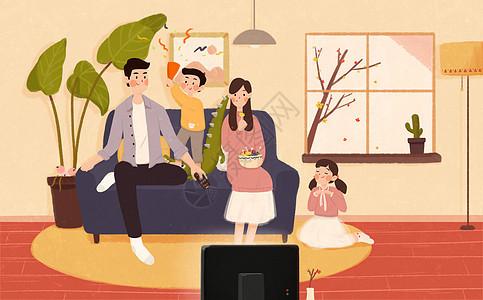 全家一起看电视图片