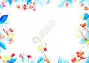 春天水彩植物背景图片