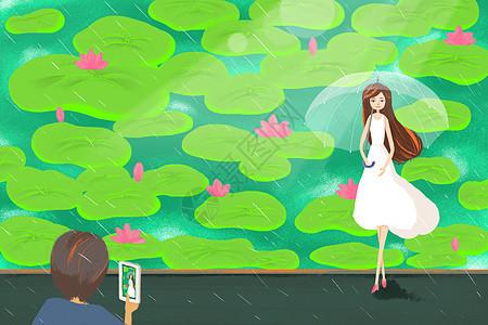 雨中情侣图片