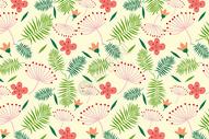 绿叶花朵元素背景图片