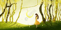 春季的女孩图片