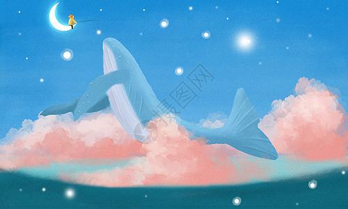 钓鲸鱼的小男孩图片