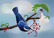 小女孩与小鸟图片