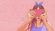 拍照的女孩图片