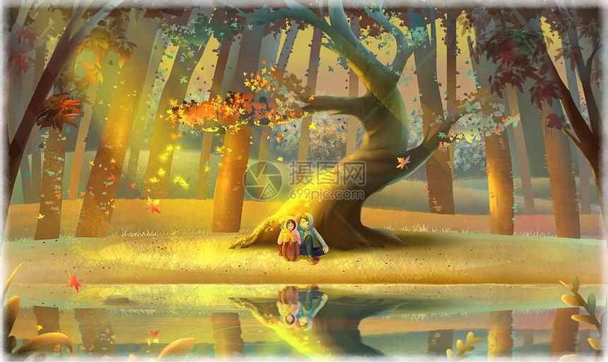 唯美情侣风景插画图片
