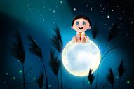 月亮与男孩图片