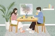 一起吃早餐的情侣图片