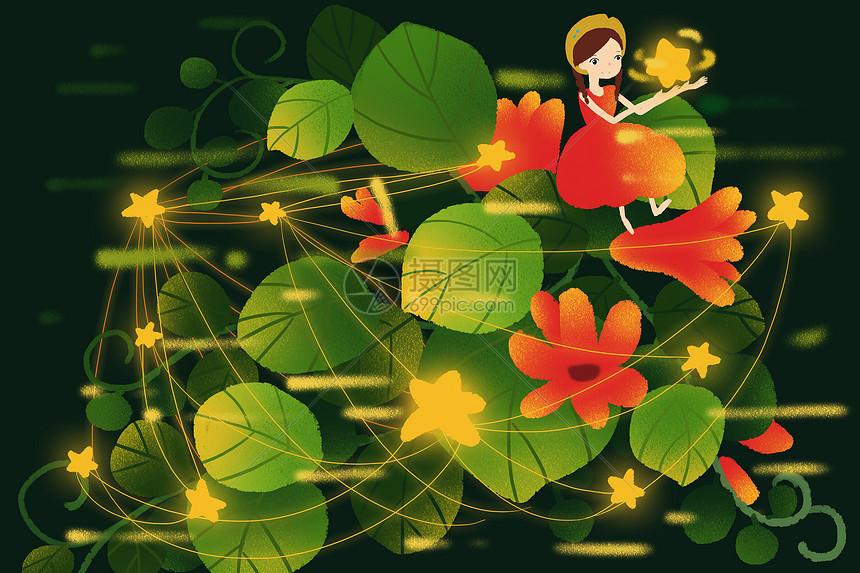 树叶上的女孩图片