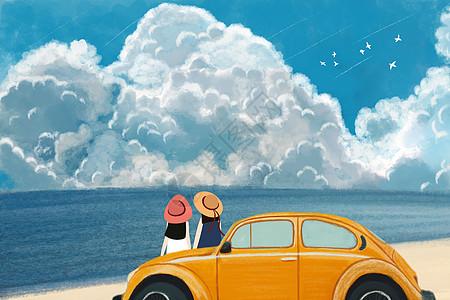 手绘海边度假卡通人物插画图片
