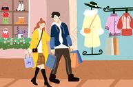 逛街购物的情侣图片