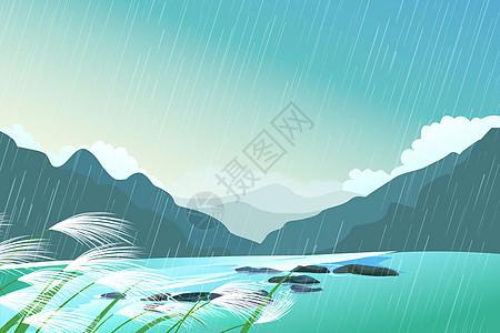 春雨中的山林图片