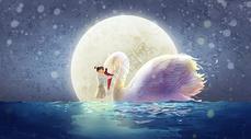 月亮下的天鹅与女孩图片