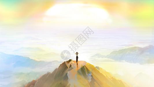 山顶看艳阳图片