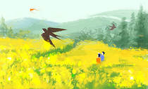 春天出游插画图片