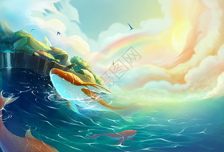 梦幻小岛与鲸鱼高清图片