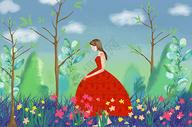 女孩与春天图片