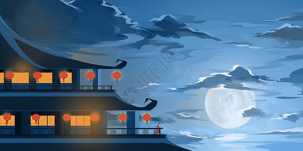 月下楼阁图片