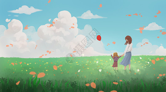 春天踏青的母女图片