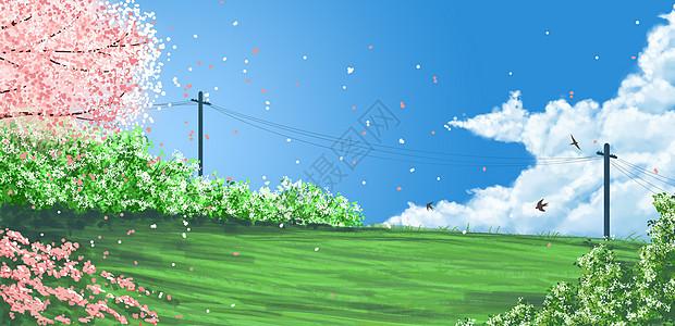 春暖花开插画图片