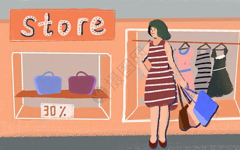 商店购物插画图片
