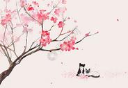 桃花树下的猫咪图片