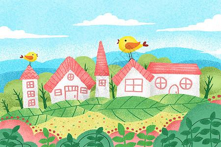春天风景手绘插画图片