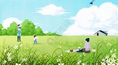 快乐的春游图片